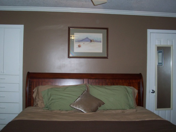 Earthtone Master Bedroom, This master bedroom has earth tones and cherry woods.  Also good crown moulding., I love my cherry wood sleigh bed. , Bedrooms Design