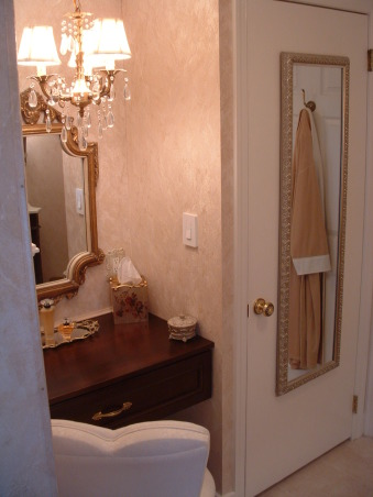 Before & After Bath Cosmetic redo, I went from a more dated country look to a more elegant bath.  Being the only bathroom in the house I wanted it to look nice. How did I do?, Mirror on door was bought at WalMart. , Bathrooms Design