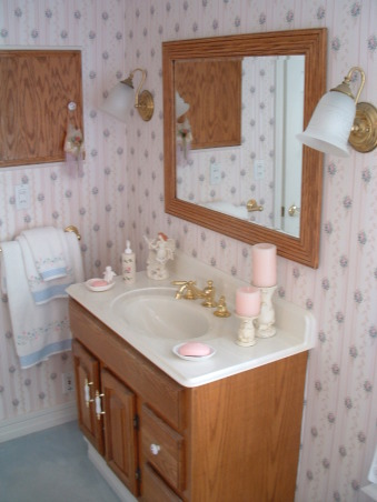 Before & After Bath Cosmetic redo, I went from a more dated country look to a more elegant bath.  Being the only bathroom in the house I wanted it to look nice. How did I do?, Pink and blue and oak cabinets. , Bathrooms Design