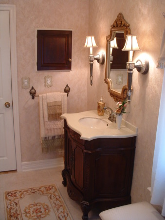 Before & After Bath Cosmetic redo, I went from a more dated country look to a more elegant bath.  Being the only bathroom in the house I wanted it to look nice. How did I do?, Vanity from JC Penney - sconces too. , Bathrooms Design