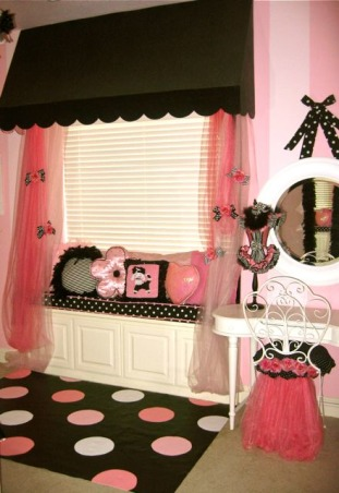 Poodles, Paris and Pink!, Are you into Poodles, Pink or Paris? If so, you might like this room that I designed for my daughter. I started collecting items for this room a little over four years ago. We found out we were moving - so I held off on starting on the room until we moved ( I finished the room over 2 years ago). Some of the items I made or designed: window seat polka dot cushion, window awning, vanity chair and the rug. I painted the rug:)  If you want more details or how-to's check out my blog designdazzle.blogspot.com. To find this room on my blog- type paris in the search box. , Girls' Rooms Design