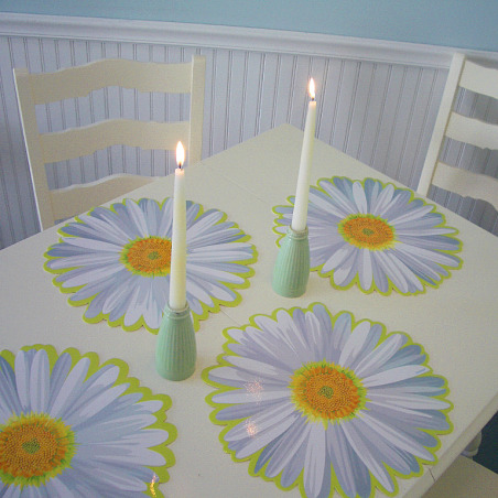 A Small Screened Porch That's Big on Style, In the warmer months, our screened back porch is a favorite spot to read, have breakfast of just hang out., Flower power: a six dollar set of place mats create a cheerful summer table., Porches Design