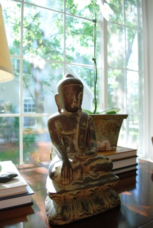 A Young Family's Living Room, This is our current living room containing many furnishings that were hand-me-downs (thank to the in-laws!) and antiques found on Craig's List., An antique buddha I found in Thailand - it's one of my favorite items in my house.  , Living Rooms Design