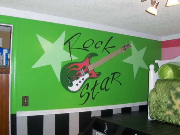 Rock Star, This is my nieces very small bedroom. That my family just completely redid over the Memorial Day weekend. , This a Rock Star themed room that my family did for my niece. We got our inspiration from a room I saw on flickr. The pic was posted by Belle Seven. Thanks for the inspiration!  , Girls' Rooms Design
