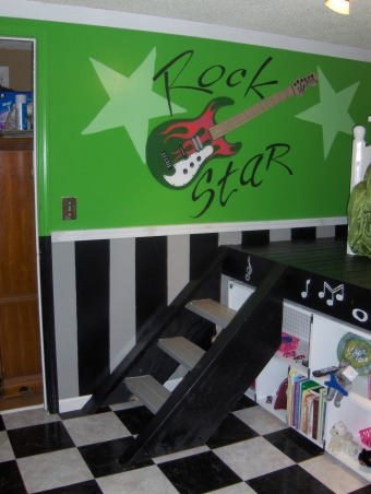 "Rock Star, This is my nieces very small bedroom. That my family just completely redid over the Memorial Day weekend. , This is the steps leading up to the ""stage"".  , Girls' Rooms Design"