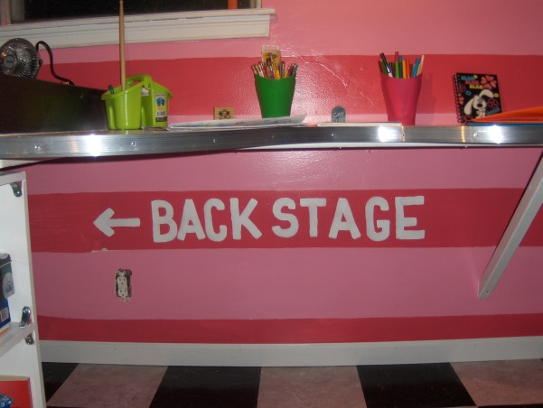 Rock Star, This is my nieces very small bedroom. That my family just completely redid over the Memorial Day weekend. , Under the desk is the sign directing the way to the backstage area.  , Girls' Rooms Design