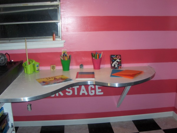 Rock Star, This is my nieces very small bedroom. That my family just completely redid over the Memorial Day weekend. , This is the desk that my sisters husband custom built as well. It attaches to the platform.  , Girls' Rooms Design