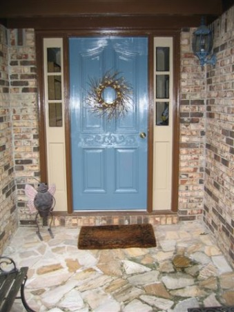 Bright and cheerful blue front door for some pop., Brown brick house in need of some pizzazz.  Before and after shots of front door, and inspiration door., AFTER:  What do you think?!?  It's definitely bright and cheerful.  A tad lighter than I was shooting for, but I think I will keep it.  The color is Sherwin Williams Labradorite, the trim is also SW Plantation Brown and SW Latte., Home Exterior Design