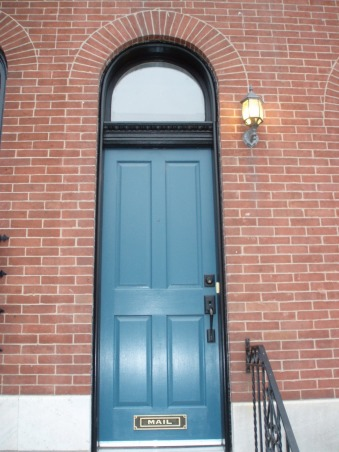 Bright and cheerful blue front door for some pop., Brown brick house in need of some pizzazz.  Before and after shots of front door, and inspiration door., INSPIRATION:  I found this photo one day, can't even remember where, and loved the door color.  It even looks like the exterior light in their photo is the same or similar to mine.  I wish I knew the exact color of the door., Home Exterior Design