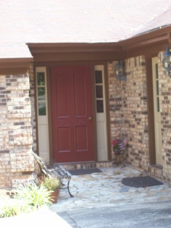 Bright and cheerful blue front door for some pop., Brown brick house in need of some pizzazz.  Before and after shots of front door, and inspiration door., BEFORE:  I think this is SW Rookwood Red but I can't remember.  I do love the color but wanted something in the blue green family.  The exterior lights that came with the house are verde/rustic blue green and I wanted to keep them and compliment them, so I decided to paint the door...only 12 bucks!, Home Exterior Design