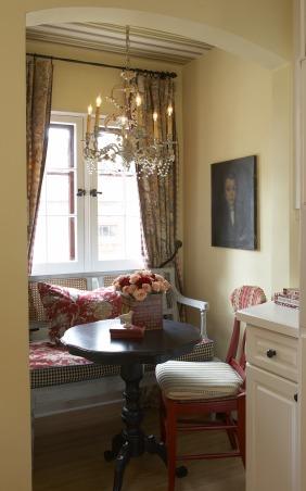 "Kitchen Eating Area, Kitchen ""Dining Area""  Vintage Italian chandelier, Stroheim Rohmann wallpaper ceiling, vintage French settee, Ballard Designs table, Kitchens Design"