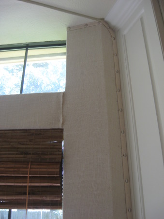 My Burlap Walls, I used natural burlap, trim and large tacks to cover my walls in my kitchen and breakfast room, Kitchens Design