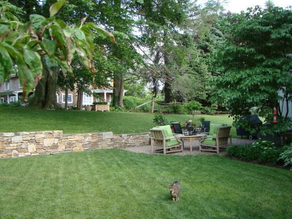 Love this small backyard!, This is my backyard with our new water feature.  Love the urn...it adds a much needed focal point.  Can't wait till the hydrangeas bloom!, Gardens Design
