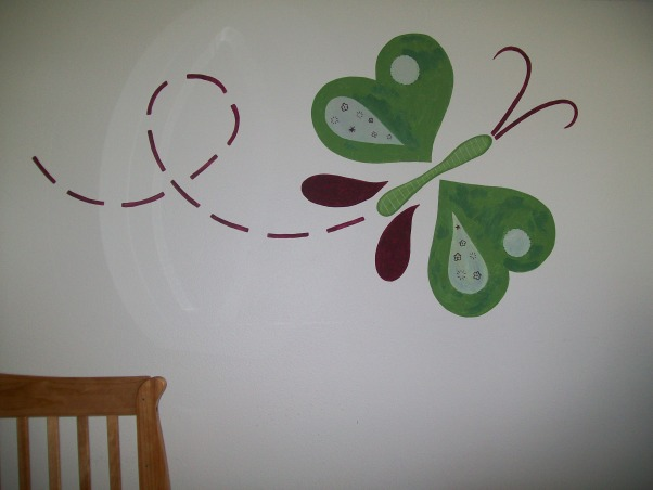 3 year old's room, butterflies, flowers, and all a 3 year old wants., riyan's butterfly painting. our old neighbor beth larson did this piece along with many other paintings in our house., Girls' Rooms Design