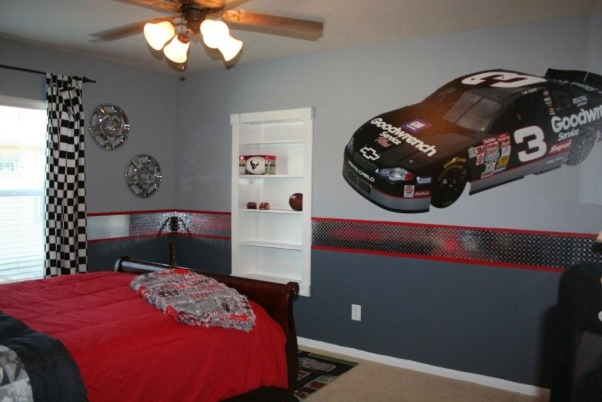 Nascar Race Room, This is my grandson's room.  He loves Dodge Ram trucks and Nascar racing.  So, the inspiration for this room was born.  I custom made the Dodge Ram quilt and pillow.  The diamond plate border is vinyl purchased on Ebay.  Yes, those are hubcaps on the wall.  , This is Cristian's Nascar / race room.  The big car on the wall is from Fatheads.  His diamond plate border was purchased on Ebay and is actually a vinyl adhesive.  , Boys' Rooms Design