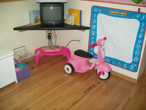 3 year old's room, butterflies, flowers, and all a 3 year old wants., tv, and toys. and her moped. , Girls' Rooms Design