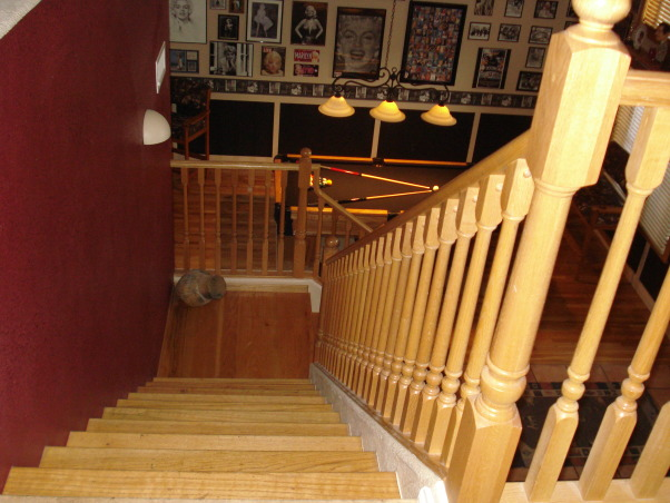 Pool table/game room, Made a formal living/dining room into a classy pool table/ game room.  We added our favorite hollywood memorabilia., Pic of our stairs... , Other Spaces Design