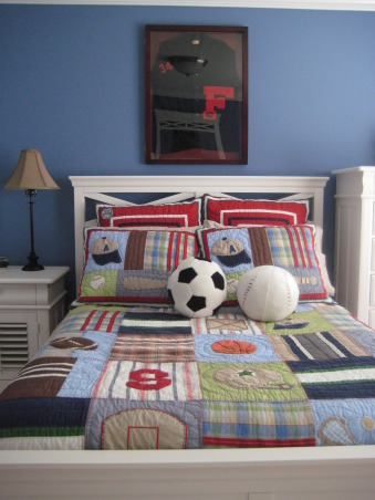 Sports themed boys bedroom., Pottery Barn inspired boys bedroom., Another angle of the bedroom., Boys' Rooms Design