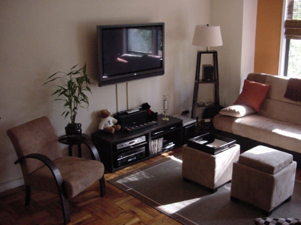 "Studio Apartment - Living Room / Bedroom combo, A studio apartment in NYC - a few miles outside of Manhattan.  Only about 500 square feet, there is still plenty of living and storage space!  Bamboo shades to allow lots of light; storage ottomans that double as coffee tables; a couch that easily folds down into a bed, but also has a large storage area underneath;  and, of course, the 42"" plasma TV on the wall :-), TV... , Living Rooms Design"