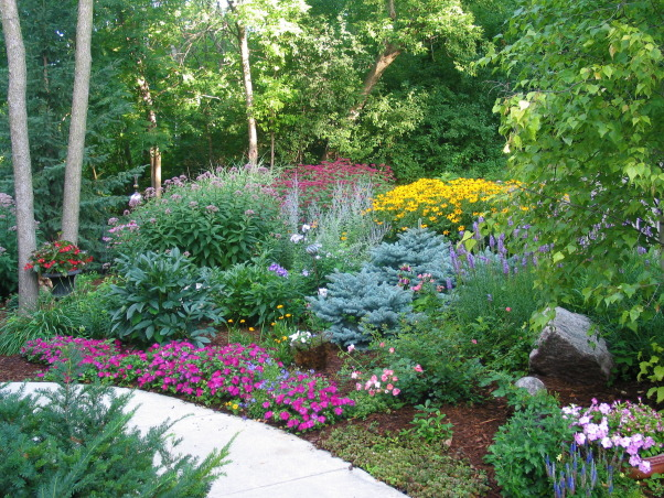 Pleasant view gardens, Waterfalls and ponds amongst the perennial gardens, Front walk                           , Gardens Design