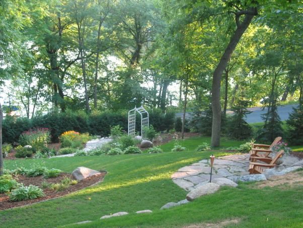 Pleasant view gardens, Waterfalls and ponds amongst the perennial gardens, path to arbor garden                             , Gardens Design