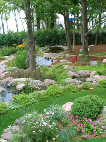 Pleasant view gardens, Waterfalls and ponds amongst the perennial gardens, backyard ponds                        , Gardens Design