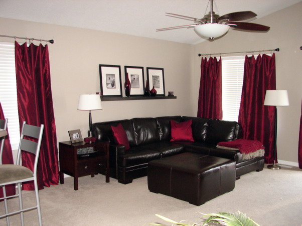 With Chocolate Brown Furniture Red Accessories Living Rooms Design