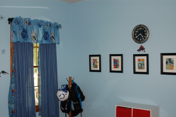 Spiderman Boys Bedroom, This is my 6 year old's Spiderman bedroom. , I framed comic book pages as more artwork., Boys' Rooms Design