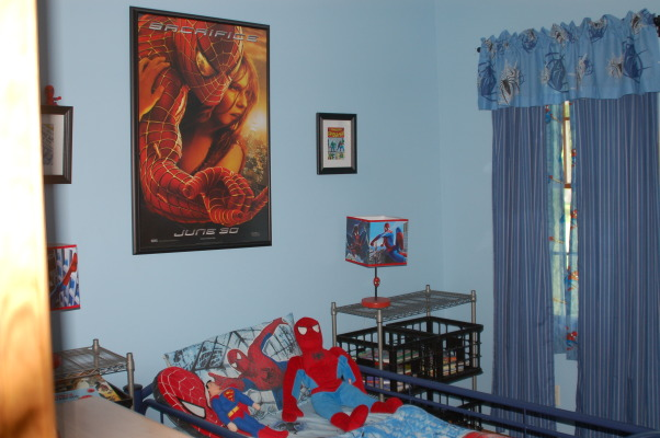 Spiderman Boys Bedroom, This is my 6 year old's Spiderman bedroom. , This is Nolan's (my 6 year old) Spiderman bedroom.  I framed a movie poster and hung over his bed as the main focus of his room., Boys' Rooms Design