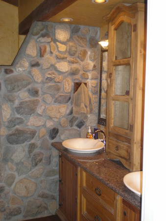 Rustic Master Bath, Our master bath has a dresser as the vanity cabinet, a granite countertop, vessel sinks, a stone wall and a step down shower., Stone wall gives the step down shower much privacy., Bathrooms Design