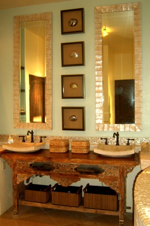 Bali Style Bathroom, This master bathroom is a reflection of our master bedroom, exotic, organic and Bali inspired. For more photos go to my facebook page https://www.facebook.com/pages/Bo-Bendana/116789411711625?sk=wall, The teak double vanity was actually a side table that was converted.  The square pieces are actual seashells that I collected over the years and had framed.  , Bathrooms Design