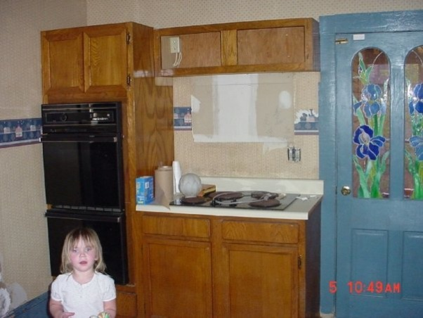 "1910 Home Kitchen Renew, ""Updated"" kitchen was torn out of this circa 1910 home to be replaced with a classic cherry kitchen with pantry spaces and updated appliances., BEFORE...wall ovens and cooktop are ok, but I had a different layout in mind., Kitchens Design"