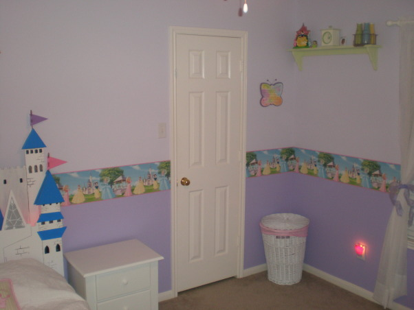 Princess Room, This is a Princess Room for our 4 year old daughter.  , Closet Door view , Girls' Rooms Design