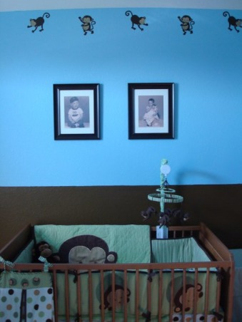 Baby Boy's Monkey Room, A nursery for our baby boy, coming in August.  We wanted to buy gender-neutral bedding, so that we could use it again if we have a girl next time.  But by using blue paint and adding other accessories, it still looks like a little boy's room., Pictures of my husband and me when we were both 18 months old.  We're excited to see who our son most resembles! , Nurseries Design