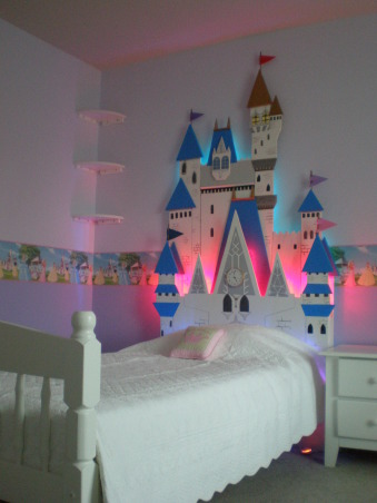 Princess Room, This is a Princess Room for our 4 year old daughter.  , Home-made Castle bed with back lighting , Girls' Rooms Design