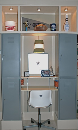 BOYS FOOTBALL ROOM, My son wanted a Cowboys Football themed room.  I didn't want to have to change the room as soon as he chose a new favorite team. So here's my compromise., Two sets of lockers make great storage for toys and clothes and frame a desk and display area nicely. , Boys' Rooms Design