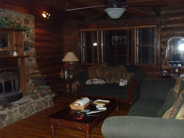 Small Dark Living Room???, We live in a beautiful log home with very large rooms with the exception of our living room...what to do?  It's dark, gloomy and we have absolutely no idea where to start but really do not want to compromise the integrity of our log home feel., Another view of the living room , Living Rooms Design