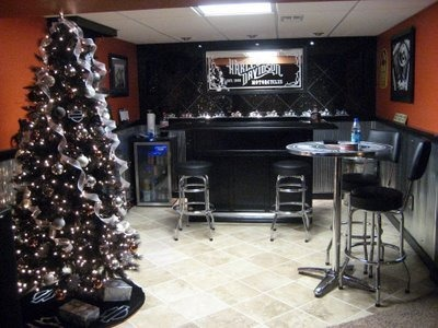 Harley Man Cave, This is my husband's ode to Harley Davidson/Crown Royal Man Cave., this was taken at christmas time. We have a black harley davidson themed christmas tree. Each year I add to it., Basements Design