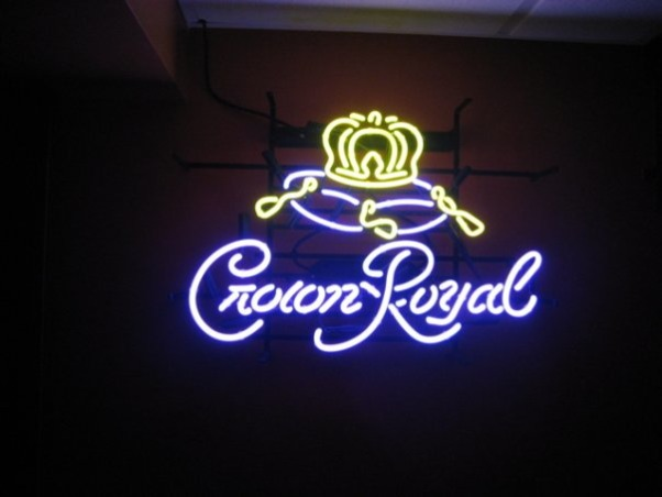 Harley Man Cave, This is my husband's ode to Harley Davidson/Crown Royal Man Cave., the neon sign in the bar area., Basements Design