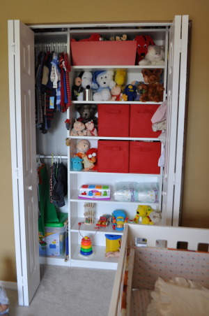Vintage Modern Nursery, This nursery combines vintage accents with modern furnishings to create a cozy contemporary room for our little guy.  , The closet with maximized storage.  We don't have a playroom or basement so all toys stay in the kids' rooms.   , Nurseries Design