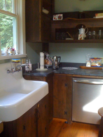 "Creating a ""new"" 1830's kitchen!, Renovated a former den space in an old 1830's farmhouse in Columbia County.  The old kitchen was then turned into a laundry room. The Turbo Chef Double oven is the highlight of the space! , Saved the original sink, a custom curved cabinet was hand crafted.     , Kitchens Design"