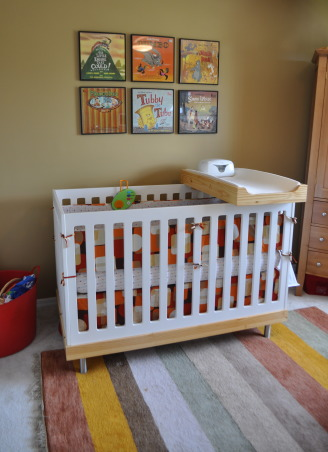 Vintage Modern Nursery, This nursery combines vintage accents with modern furnishings to create a cozy contemporary room for our little guy.  , Oeuf crib.  Diaper changing supplies hang on the crib next to the changing platform.   , Nurseries Design