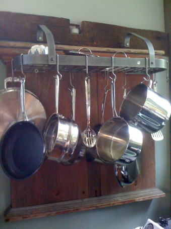 "Creating a ""new"" 1830's kitchen!, Renovated a former den space in an old 1830's farmhouse in Columbia County.  The old kitchen was then turned into a laundry room. The Turbo Chef Double oven is the highlight of the space! , Pot rack mounted on 200 year old barnwood, with hand tooled moldings...      , Kitchens Design"