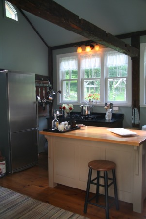 "Creating a ""new"" 1830's kitchen!, Renovated a former den space in an old 1830's farmhouse in Columbia County.  The old kitchen was then turned into a laundry room. The Turbo Chef Double oven is the highlight of the space! , Second set of windows, horn lighting fixtures.      , Kitchens Design"
