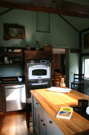 "Creating a ""new"" 1830's kitchen!, Renovated a former den space in an old 1830's farmhouse in Columbia County.  The old kitchen was then turned into a laundry room. The Turbo Chef Double oven is the highlight of the space! , Another view  , Kitchens Design"