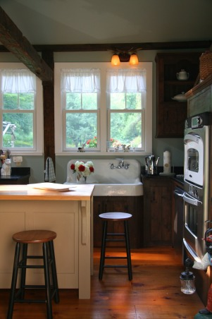 "Creating a ""new"" 1830's kitchen!, Renovated a former den space in an old 1830's farmhouse in Columbia County.  The old kitchen was then turned into a laundry room. The Turbo Chef Double oven is the highlight of the space! , Kitchens Design"