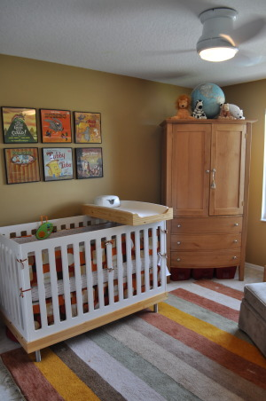 Vintage Modern Nursery, This nursery combines vintage accents with modern furnishings to create a cozy contemporary room for our little guy.  , No fancy light fixtures here.  We're in Florida and we need ceiling fans.  The crib is from Oeuf.  I didn't want to have a separate changing table since the room is so small and this crib had a little changing platform that goes with it.  We remove the platform when it becomes a hazard.  When they're really small, it's not in their way. , Nurseries Design