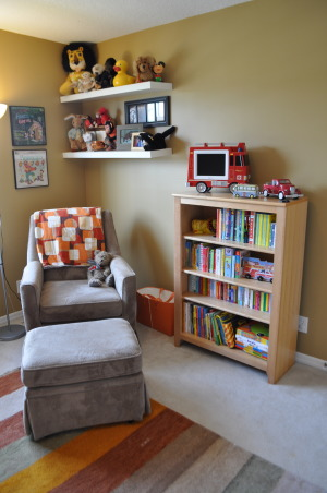 Vintage Modern Nursery, This nursery combines vintage accents with modern furnishings to create a cozy contemporary room for our little guy.  , Reading area and infant/toddler library   , Nurseries Design