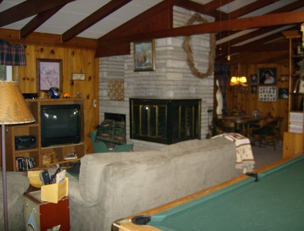 Family room - man cave, Lodge/fishing cabin decorated family room with husband in mind.  Children are raised -- now it's his turn!, media room, family room  , Other Spaces Design