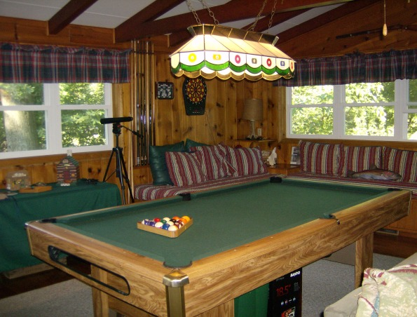Family room - man cave, Lodge/fishing cabin decorated family room with husband in mind.  Children are raised -- now it's his turn!, pool room area, Other Spaces Design